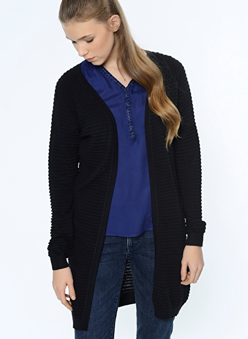 Vero Moda Uzun Triko Hırka Siyah